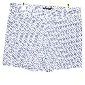 The Limited geometric print white blue shorts